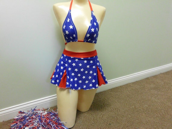 MISS AMERICA olympic cheer chick halloween costume cheerleading skirt set stripper exotic dancer pom pons