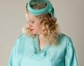 Vintage 1960s Turquoise Birdcage Veil Hat Something Blue Bridal Wedding Fashions