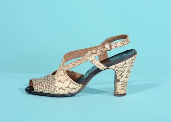 Vintage 1940s Snakeskin Shoes - Caged Peep Toe  -