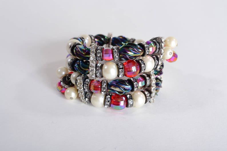 Red Blue Faux Pearl Wedding Bridal Fashions Vintage Beaded Rhinestone Wrap Bracelet
