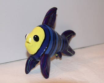 Blue and Yellow Tropical Fish, 100% Handmade