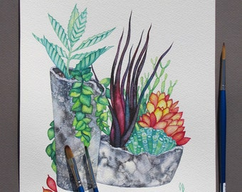 Succulent Watercolor Painting/ ORIGINAL Art/ Plant Painting/ Botanical Illustration/ Green Grey Wall art/ Gift for Girlfriend/ Gift for Mom