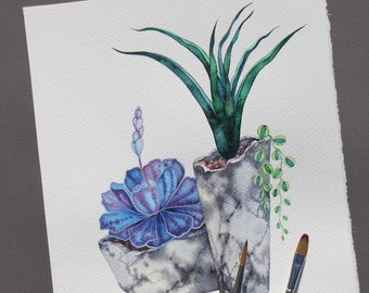 """Succulent Watercolor Painting/ ORIGINAL Painting 8""""x10"""" by Olena Baca/Succulent Wall Art/Illustration/Gift for friend/Gift for/ Gift for Her"""
