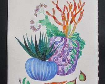 """SUCCULENT Art/ Succulent Watercolor Painting/ Botanical Illustration 11""""x14""""/ Birthday gift/ Gift for Her/ Women gift/ Gift for friend"""