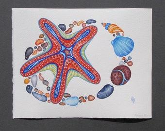 Nautical Art/ Sea Star Painting/ ORIGINAL/ Watercolor Gouache Wall Art/ Beach House Decor/Coastal Art/ Sea Creatures