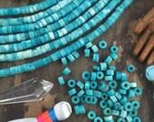 Turquoise Whitewash Discs, Large Hole Blue Bone Heishi Spacer Beads, 5x3mm, Tribal Boho Jewelry Making Supply, Beachy Bohemian, 75 pcs