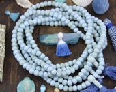 Cornflower Blue Mala: 108 Bone Bead Spacers, Yoga Inspired Jewelry, Beaded Bohemian Necklace, Prayer Beads, Meditation Tool, Gift for Yogi