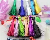 """Tinsel Tassels, 2.5"""" Metallic Tassels, Shiny Festive Sparkly Jewelry Making Supply, Mardis Gras Tassels, Earring Tassels, 14 colors"""