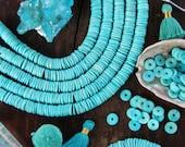 Minty Fresh Discs : Large Hole Turquoise Blue Bone Heishi Spacer Beads, 10.5x2mm, Boho Jewelry Making Supply, Beachy Bohemian, 100+