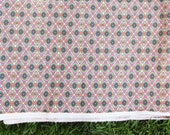 """Boho Burlap Fabric from India, Floral Diamonds Geometric Textile, Wall Hanging, Outdoor Fabric Home Decor, Sewing Supplies, 53"""" x 1 yard"""