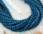 Teal Love: Olive Hand Cut Round Wood, 5.5mm, Natural Teal Dyed Beads for Bracelets,  Yoga Mala Jewelry Making Supplies, 70 pcs