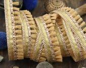 "Glitter & Gold: Butterum Tan Fringed Tassel Trim, Boho Retro Small Tiny Trimming, Skinny Indian Ribbon, Spring Craft Supplies, 1 Yd x 3/4"""