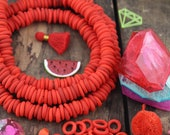 Dutch Donut Beads: Carrot Red Large Hole African Glass Beads, Bohemian Tribal Necklace Beads, 11-12mm, Jewelry Making Supplies, 10 pc