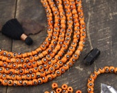 Orange Bone Beads: Silver Black Spot Painted Rondelle Spacers, 6x5mm, Boho Halloween Jewelry & Mala Making Supplies, Ethnic Beads, 40 pieces
