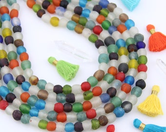 Ghana Glass Beads: Multi Color Mix Krobo African Rondelle Beads 11-12mm, Bohemian Large Hole Boho Tribal Jewelry Making Supplies, 50+ pieces