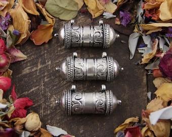 Affirmation Vessel: Buddhist Spiritual Prayer Box, Boho Amulet, Eclectic Jewelry Relic, Good Juju, Meditation Yoga Mala Pendant, 1 Locket