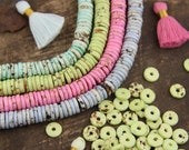 Pastel Bone Beads: Speckled Heishi Spacers, 10x2.5mm, Boho Craft & Jewelry Making Supplies, Bohemian Necklace Bracelet Discs, 75+ Pieces