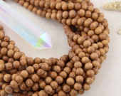 Bayong Brown : 8mm Small Handmade Lightweight Round Waxed Wood, Bracelet Spacer Beads, Neutral Bohemian Yoga Mala Jewelry Supplies, 50+ pcs