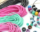 Braided Lurex Cord with Finished Ends, for Large Hole Bead Bracelets, Reusable Rope for Slider Bead Bracelet, 14.5 inches, 3.5mm width