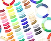 Acrylic Bamboo Beads, Curved Tube Beads for Bracelet Making, Waterproof Resin Beads for Summer Bangles, Trendy DIY Jewelry, 12mm, 1 pc.