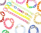 "Luxe Link Enamel Chain Bracelet with Carabiner Lock Clasp, Assorted Colors, 8.25"" Adjustable Bracelet, Cooper Chains, DIY Arm Stacks"