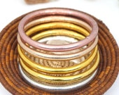 Gold, Rose Gold, Silver Buddhist Temple Bracelets from Thailand, High Quality Amulet Temple Rushes, Gold Leaf Mantra Prayer Bangles 1 Bangle
