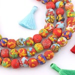 20mm Round Multi-Colored Mosaic Sandcast Ghana Glass Beads, Recycled African Glass, 47 pcs, Boho Jewelry Making Supplies, Festive Beads