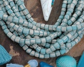 Cloudy Sky : Java Striped Glass, Blue & White Tribal Gooseberry Tube Beads, 5mm, Large Hole Tiny Spacer Tribal Jewelry Supply, Boho, 130 pcs