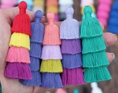 """Tiered Tassels, 4 Layered Pendant for Earrings, Stacked Tassel Pendant, Tassels for Jewelry, Handmade Cotton Layered Tassels, 3"""" 1 piece"""