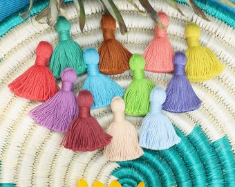 """Cotton Tassels, Solid Color Mini Jewelry Making Tassels, Handmade Earrings Tassels, 1.25"""", Jewelry Making Supplies, You Choose 10+ Colors"""