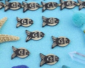 Fish Beads: Neutral Bone Beads, Large Hole Hand-Carved Black & White Nautical Beads, 22x30mm, Earthy Jewelry Making Supplies, 6 pieces