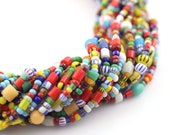 """Small Vintage Christmas Beads, African Love Beads, Czech Glass Seed Beads, Multicolor Spacer Beads, Boho Jewelry Supply, 2-3mm, 34"""" Strand"""