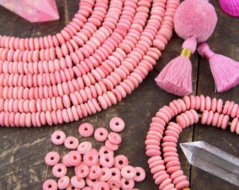 Pastel Pink Bone Beads: 9x3mm, Roundelle Disc Beads, Salmon Pink Handmade Spacer Beads, Bracelet Beads, Jewelry Making Supplies, 65+ beads