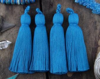 "Turquoise Tassel Luxe Large Handmade Cotton Tassels, 3.75"", Mala Necklace Jewelry Making Supply, December Trend, Interior Design, 2 Tassels"
