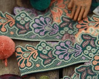 "Herb Garden, Sage Green, Orange, Lilac, Trim, Ribbon, Sari Border, India, 1 1/2"" x 1 Yard, Floral Fall Sewing, Wedding Decor, Supply"