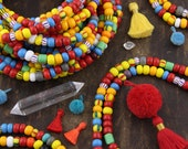 Ghana Glass : Bright Multi Color Solid & Striped Beads, Assorted Sizes, 7-9mm, Colorful Rondelle Spacer Beads, Bohemian Tribal, 95+ pieces