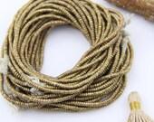 "African Brass Heishi Beads 3mm, Ethnic Ethiopian Heishi Spacer Beads, Metal Jewelry Making Supplies, Handmade Fair Trade Beads, 16"" strand"