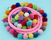"""Luxe Pom Poms with Loops for Jewelry, 1"""" Designer Jewelry Making Charms, Handmade Cotton Sewing Supplies, Boho Craft Embellishment, 3+ Pairs"""