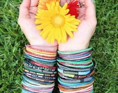 Global Rainbow Arm Party Recycled Bangles from Mali, Assorted Colors,  Surfer Bangle, Jelly Bracelets, Fair Labor, Waterproof, 10 bracelets