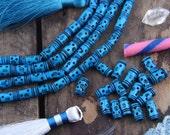 Deep Turquoise Tribal Tube Bone Beads : Handmade Large Hole Barrels, 7x13mm, Natural Craft Tribal Jewelry Making Supply, Boho Beads, 16 pcs