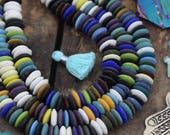 Blue Spring : Multi Color Mix Ashanti Ghana African Glass Rondelle Beads, 15x4mm, Large Hole Boho Tribal Jewelry Making Supplies, 125+ pcs