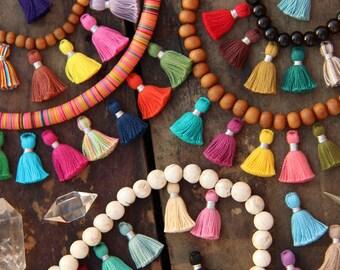 ON SALE Tiny Jewelry Making Tassels, 2 cm, Silver Binding, Cotton Fringe Charm, Boho Yoga Mala Pendant, DIY Craft Supplies, You Choose 10+ p