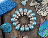 She's a Blue Pearl : Nepali White Brass, Pendant, Handmade, Boho, Gypsy Jewelry Making Supplies, Charm, 1 pendant, 10x18mm, Light Blue