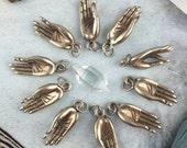 Gyan Mudra White Brass Pendant, Himalayan Silver Goods, Buddhist Hand Gesture, Yoga Mala Charms, Intentional Jewelry Making Supplies, 1 pc