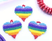 """Rainbow Heart Pendant, Miyuki Seed Beads, Handmade Jewelry Making Supplies, Pride Charm for Keychains or Necklaces, DIY Kids Crafts, 1"""""""