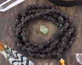 Dark Brown Black Rudraksha Beads: 9mm, Spiritual Gift, 108 Bead Mala, Natural Indian Spacer Seeds, Intentional Yoga Jewelry Making Supplies