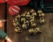 Tiny Nepali Jingle: Brass Bells with Clapper, 7x10mm, Santa's Sleigh, Modern Christmas Decor, Festive Bling Jewelry Making, Gift Wrap, 5 pcs