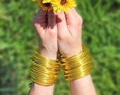 Gold Buddhist Temple Bracelets from Thailand, Little Luxuries, Gold Leaf Flake & Plastic Mantra Bangles, Lightweight Zen Jewelry, 1 Bangle