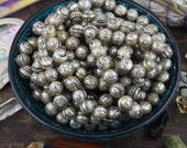Pearly Om: 10 Loose Engraved Pearl Beads 11x13mm, Buddhist Mantra Om Mani Padme Om, Yoga Mala Inspired Jewelry Making Supplies, Nepal, Tibet