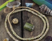 Green Brown Watermelon Chevron:Antique Italian, African Trade Beads, 5x3mm, Collectible Tribal Jewelry Making Supply, Fashion Necklace, 135+